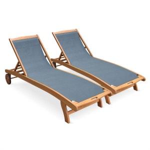 Ensemble de 2 bains de soleil en bois Marbella, transats en eucalyptus FSC huilé ALICE S GARDEN