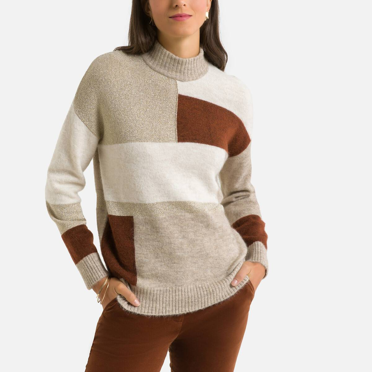Pull col montant en fine maille