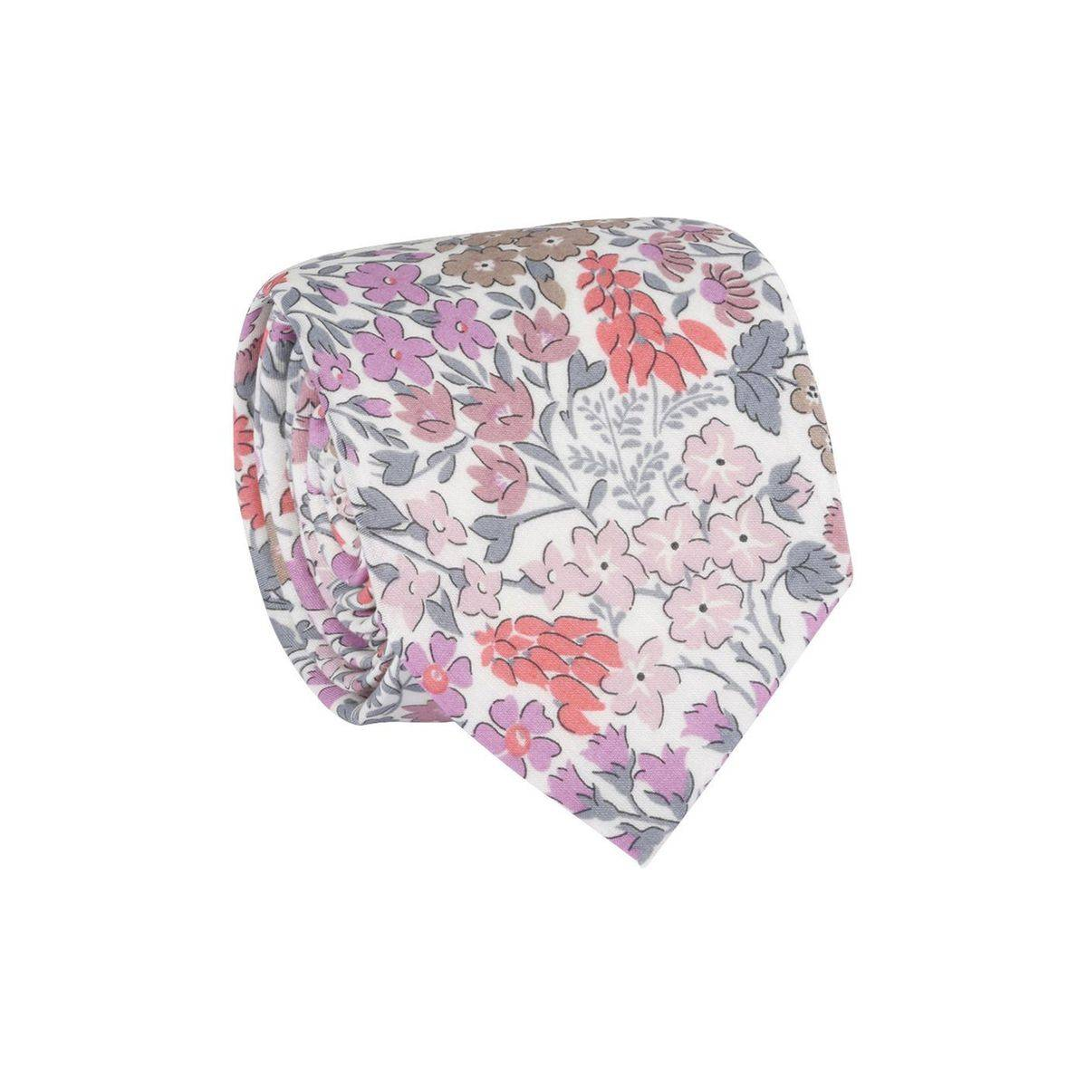 Cravate homme Tissu Liberty Sweet May Rose / Gris clair