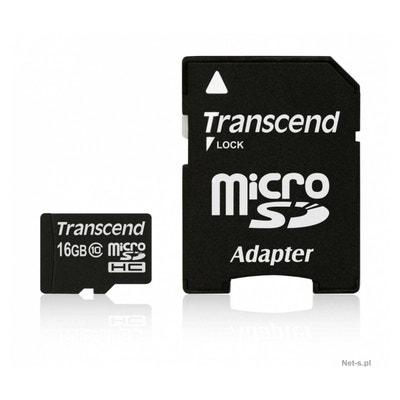 Carte mémoire micro SD TRANSCEND 16Go microSDHC + adaptateur TRANSCEND