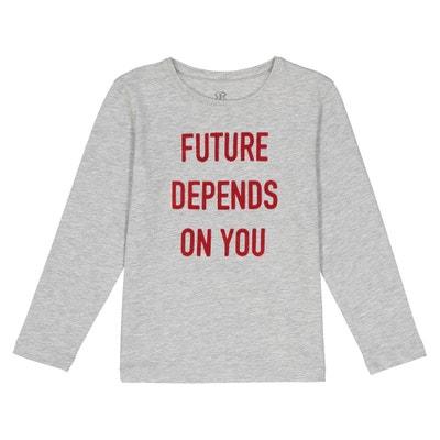 T-shirt message toucher velours  3-12 ans T-shirt message toucher velours  3-12 ans La Redoute Collections