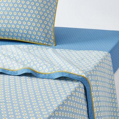 POP Hexagonal Print Cotton Flat Sheet POP Hexagonal Print Cotton Flat Sheet La Redoute Interieurs