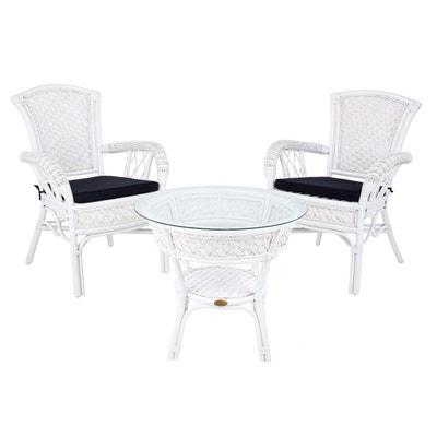 Petit Salon Dintrieur ANDREA Blanc En Rotin