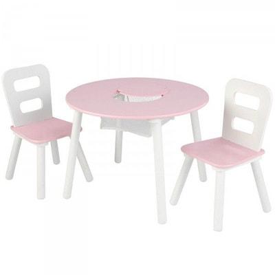 Ensemble chaises et table ronde rose Ensemble chaises et table ronde rose DECOLOOPIO