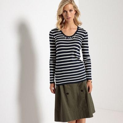 Пуловер в полоску с круглым вырезом и украшениями Пуловер в полоску с круглым вырезом и украшениями ANNE WEYBURN