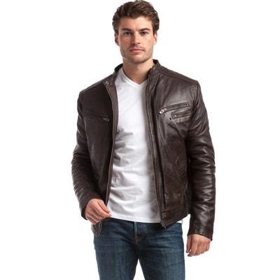 Veste style motard en cuir d agneau Veste style motard en cuir d agneau 235b4f6836db