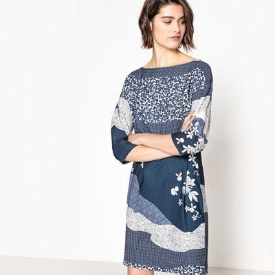 Sukienka z kwiatowym nadrukiem, guziki na rękawach La Redoute Collections