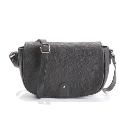 Textured Leather Half Moon Handbag Textured Leather Half Moon Handbag La Redoute Collections