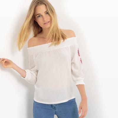 Blusa com mangas 3/4, ombros descobertos, bordados Blusa com mangas 3/4, ombros descobertos, bordados TOM TAILOR