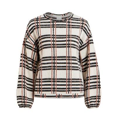 Jersey a cuadros con cuello redondo y manga larga Jersey a cuadros con cuello redondo y manga larga VILA