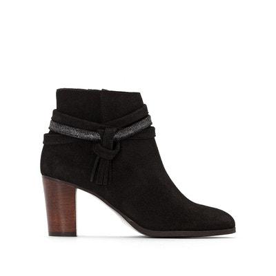 Boots en cuir, talon haut, lanière pailletée La Redoute Collections