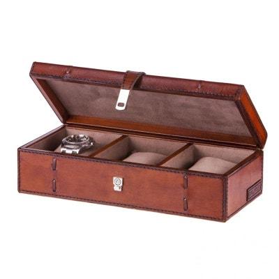 Coffret rangement 3 montres Luxe Edward, cuir de buffle Cognac Coffret rangement 3 montres Luxe Edward, cuir de buffle Cognac BALMUIR