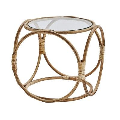Table basse ronde rétro bambou naturel verre Table basse ronde rétro bambou naturel verre MADAM STOLTZ