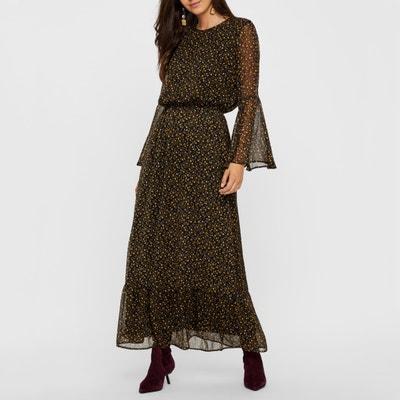 Платье длинное с цветочным рисунком и широкими рукавами Платье длинное с цветочным рисунком и широкими рукавами YAS