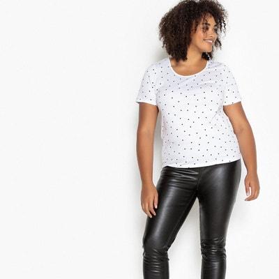 T-shirt col rond imprimé pois, manches courtes T-shirt col rond imprimé pois, manches courtes CASTALUNA