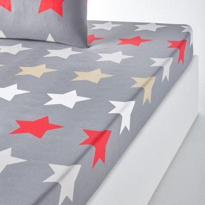 Lençol-capa estampado, STARS, antracite Lençol-capa estampado, STARS, antracite La Redoute Interieurs