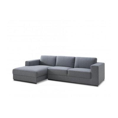 3eb6255b8a7744 Canapé d angle gauche en tissu gris KALISS DECLIKDECO
