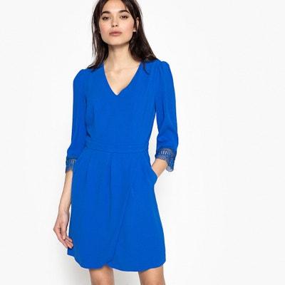 Plain Mini Dress with 3/4 Length Sleeves Plain Mini Dress with 3/4 Length Sleeves SUNCOO
