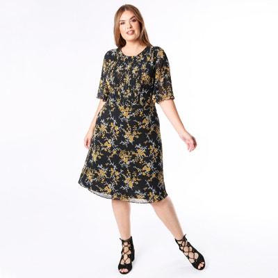 Robe col rond, imprimé floral, manches courtes Robe col rond, imprimé floral, manches courtes LOVEDROBE