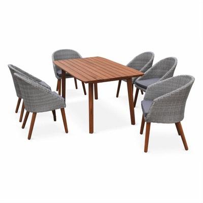 salon de jardin huesca design scandinave eucalyptus fsc et rsine tresse arrondie table - Chaise Et Table De Jardin