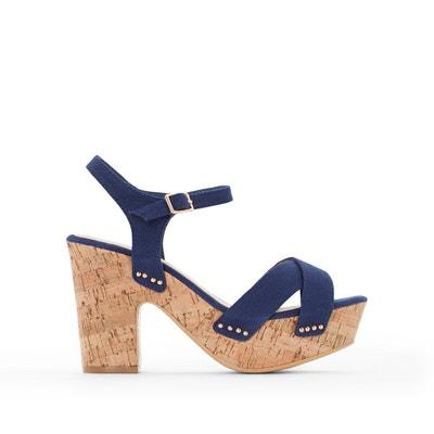 Cork Heel Canvas Sandals ANNE WEYBURN