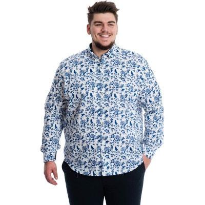 Chemise blanche à motifs oiseaux et fleur bleu LA MODE EN LARGE. Soldes 26b6f2d86ac4