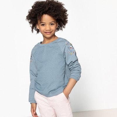 Geborduurde sweater in 2 stoffen, 3-12 jr La Redoute Collections