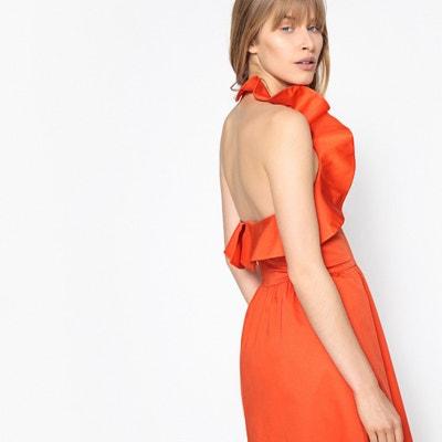 Kurzes, rückenfreies Kleid mit Volants, Baumwoll-Popeline Kurzes, rückenfreies Kleid mit Volants, Baumwoll-Popeline MADEMOISELLE R