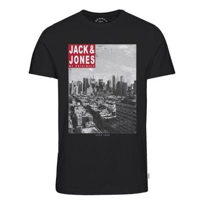 T-shirt met ronde hals en motief vooraan JACK & JONES