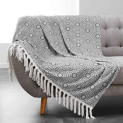 plaid franges avec motif gomtrique fleurs home maison - Plaid Canape