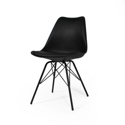 Chaise scandinave noire à coussin, piétement tour Eiffel  |  PX Chaise scandinave noire à coussin, piétement tour Eiffel  |  PX MADE IN MEUBLES