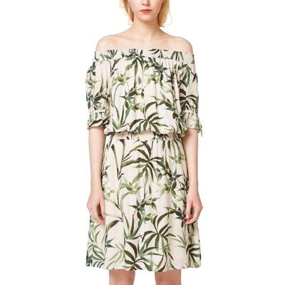 Bedrucktes Kleid, schulterfrei, elastische Taille Bedrucktes Kleid, schulterfrei, elastische Taille ESPRIT