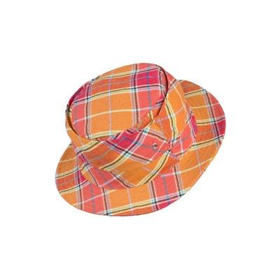 Chapeau coton écossais orangé LITTLE CALIFORNIA LEISUREWEAR