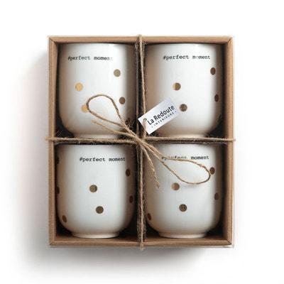 Lot 4 tasses à thé en porcelaine, KUBLER Lot 4 tasses à thé en porcelaine, KUBLER LA REDOUTE INTERIEURS