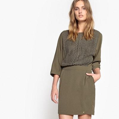 Effen, korte rechte jurk, 3/4 mouwen Effen, korte rechte jurk, 3/4 mouwen LES PETITES BOMBES