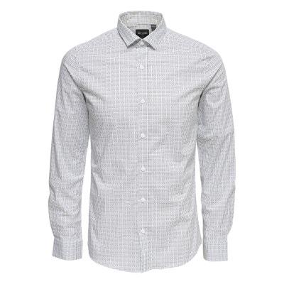 Long-Sleeved Slim Fit Printed Shirt Long-Sleeved Slim Fit Printed Shirt ONLY & SONS