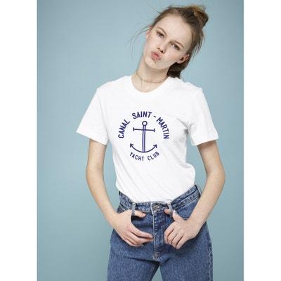 Camiseta de manga corta con motivo y contornos de canalé a rayas Camiseta de manga corta con motivo y contornos de canalé a rayas RAD
