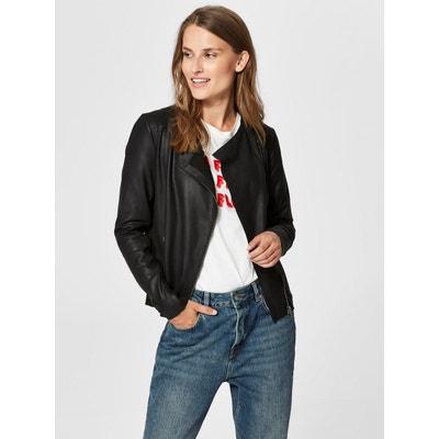 Veste en cuir et simili cuir femme Selected femme   La Redoute 887d05248d61