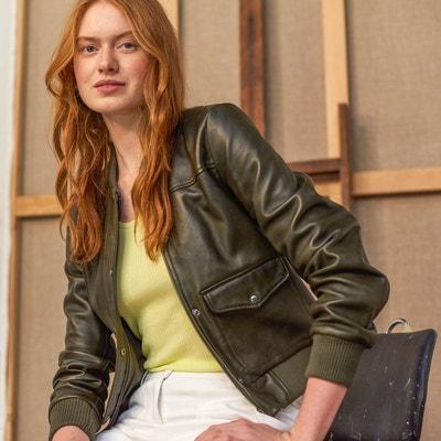 Veste en cuir et simili cuir femme La redoute collections en solde ... 43c80fb66ba8