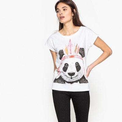 Panda Print Cotton T-Shirt BEST MOUNTAIN