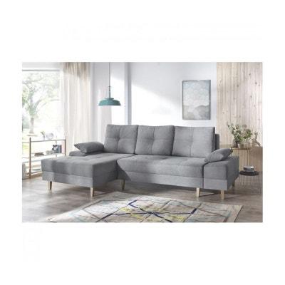 Canape d'angle convertible SVEN II gauche (pieds bois) Enjoy gris clair BOBOCHIC