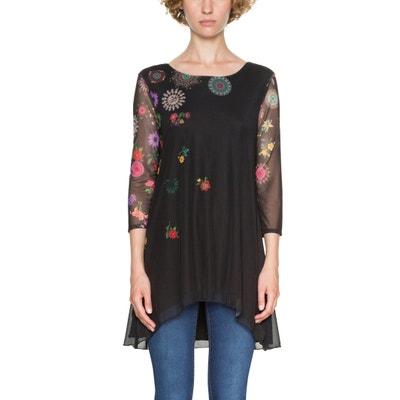 Tee shirt col rond imprimé floral, manches 3/4 DESIGUAL