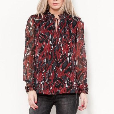 Bedruckte Bluse, Stehkragen, lange Ärmel Bedruckte Bluse, Stehkragen, lange Ärmel LE TEMPS DES CERISES
