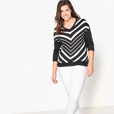 Pullover, V-Ausschnitt, gestreift CASTALUNA