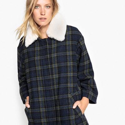 Manteau à carreaux et col esprit mouton La Redoute Collections