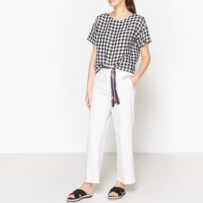 Geruite blouse in linnen, LEONCIE HARRIS WILSON