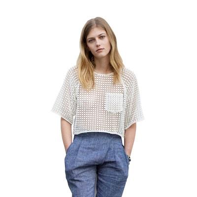 Top pur coton broderie blanc aux motifs géométriques style chic et  minimaliste SUNDAY LIFE 068c62f7ba5d