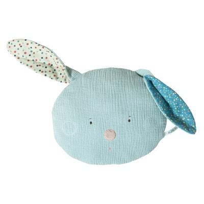 Coussin tête lapin bleu Les Jolis trop beaux Coussin tête lapin bleu Les Jolis trop beaux MOULIN ROTY