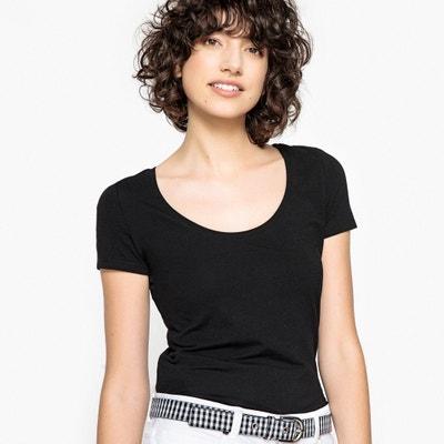 Camiseta con cuello amplio redondo, manga corta La Redoute Collections