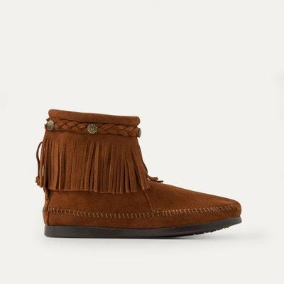Boots franges avec tresse cheville, cuir suede Boots franges avec tresse cheville, cuir suede MINNETONKA